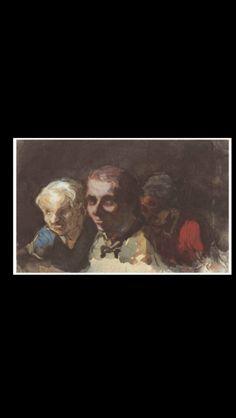 Honoré Daumier - Trois spectateurs - Gouache, watercolor and pen and black ink on paper - 11,4 x 16,7 cm