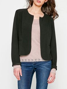 #AdoreWe DDP Solid Simple H-line Polyester Long Sleeve Cropped Jacket - AdoreWe.com