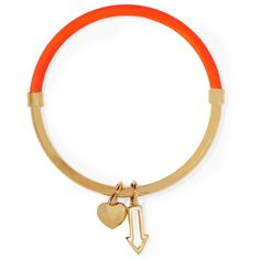 Marc by Marc Jacobs Pointing Hula Hoop neon enameled gold-tone bangle (€38) ❤ liked on Polyvore featuring jewelry, bracelets, orange, hinged bangle, enamel charms, heart charms, hinged bracelet and charm bangle