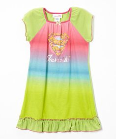 Look what I found on #zulily! Pink & Green 'Invincible' Supergirl Nightgown - Toddler & Girls #zulilyfinds