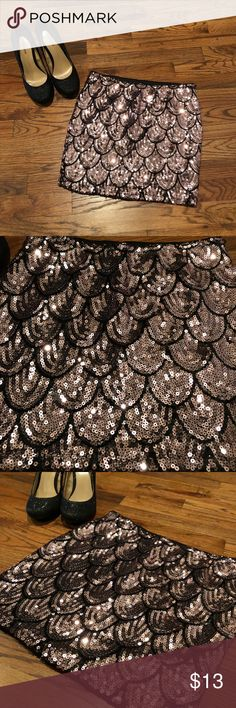 Lily Rose Sequin Mini Skirt Scallop Design Pale Pink and Black Lily Rose Skirts Mini