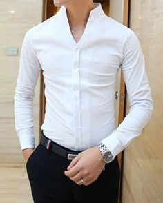 White Shirts For Men - Men Formal White Shirts Formal Shirts For Men, Casual Shirts, Casual Outfits, Men Casual, Collared Shirt Dress, Shirt Outfit, Collar Dress, Look Fashion, Mens Fashion