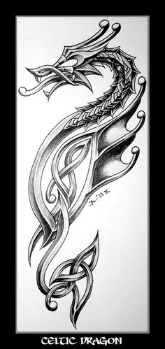 celtic dragon tattoo design: Because I'm Irish and I love dragons #dragon #tattoos #tattoo