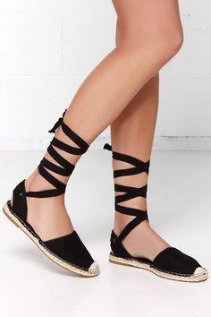 Tied and Seek Black Canvas Espadrille Leg Wrap Sandals at Lulus.com!