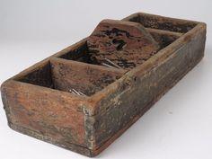 Antique Handmade Wood Tool Nail Box Old Black Paint Primitive OLD OOAK    eBay