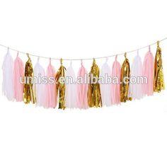 Party decoration 15pcs Tissue Paper Tassel Garland DIY Kits, Pink+Metallic Gold+White paper decoration