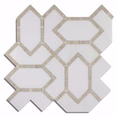 White Thassos + Crema Marfil Marble Waterjet Mosaic Tile – TileBuys