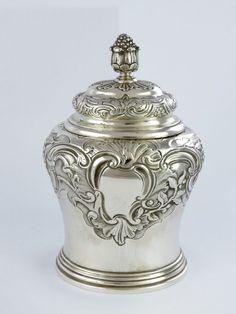 Superb quality Georgian SILVER TEA CADDY London 1744 William Grundy Rococo 300g in Antiques, Silver, Solid Silver | eBay