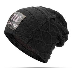 1e79f339970 Mens Plus Velvet Thick Warm Knitted Casual Letter Hat – menhill Knit Beanie