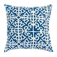 """Indoor/outdoor throw pillow with a trellis motif. Eco-friendly.   Product: PillowConstruction Material: Weather resistant fabric cover and polyester fillColor: IndigoFeatures:  Eco-friendly UV Resistant fabricStylish and contemporary designInsert included Dimensions: 17"""" x 17"""""""