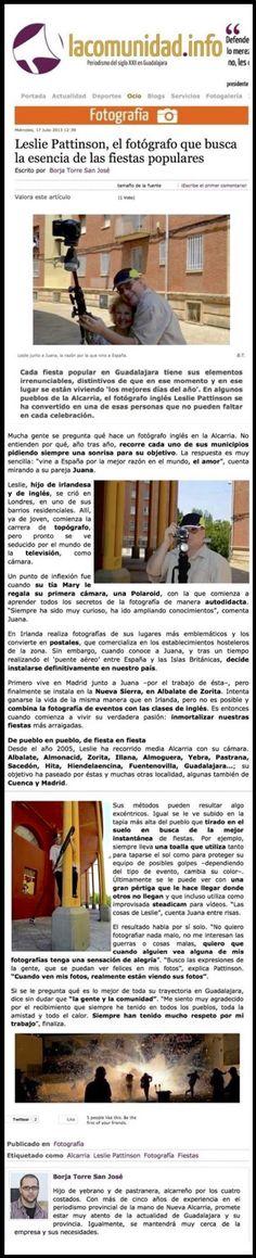 """Antes - aquí:  Leslie Pattison, el fotógrafo que busca la esencia de las fiestas populares. Escrito por Borja Torre San José (lacomunidad.info)  http://lacomunidad.info/index.php/ocio/fotograf%C3%ADa/item/2425-leslie-pattison,-el-fotógrafo-que-busca-la-esencia-de-las-fiestas-populares.html  -- Ahora - no  :-(  Adiós """"lacomunidad.info"""""""