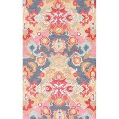 This Turkish Orchard Street rug is made of polypropylene. This rug is easy to clean, stain resistant, and does not shed. Colors found in this rug include: pink, beige, green, light blue blue, orange, peach, yellow.