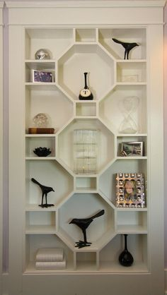 Book Shelf - Stylish custom built-in bookshelf is perfect for displaying collectables  - Michelle Workmans Interiors