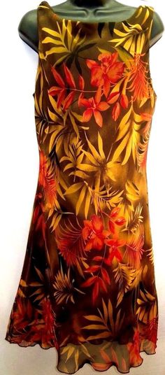 Women M/L #LaBelle #SleevelessDress #Hawaiian #Exotic Print #FlounceHem #FullyLined #Earthy #WomensDress #WomensFashion #Style
