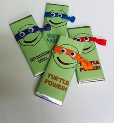 Ninja Turtle Candy Bars with Embellishments--TMNT party favors with Hershey bars--Personalized Hershey Bars - pinned by pin4etsy.com