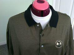Bobby Jones Men's Players Polo Shirt Black Gold Size L Pebble Beach Golf Links t | eBay