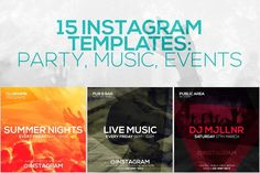 15 Instagram Templates vol.8: Party by RussGFX on @creativemarket
