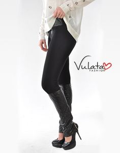 Knit Pants with Faux Leather Accents http://vulatafashion.com/shop/bottoms/knit-pants-with-faux-leather-accents/
