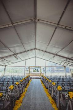 Modern grey and yellow wedding ceremony {Photo by IQPhoto Studio via Project Wedding}