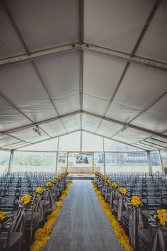 Modern grey and yellow wedding ceremony {Photo by IQPhoto Studio via Project Wedding}