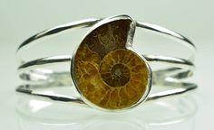Ammonite Fossil Handmade 925 Silver Cuff Bracelet 25 Grams