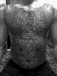"Sak Yant Yantra tattooing, also called sak yant (Thai: สักยันต์, Khmer: សាក់យ័ន្ត), is a form of tattooing practiced in Southeast Asian countries including Cambodia, Laos, and Thailand. The practice has also begun to grow in popularity among Chinese Buddhists in Singapore. Sak means ""to tap [tattoo]"", and yant is Thai for the Sanskrit word yantra."