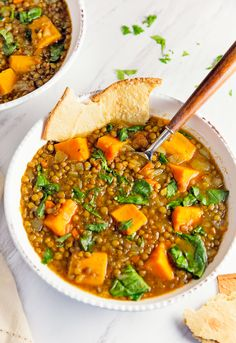 Warm and deliciously fragrant spices make this yummy Moroccan-inspired sweet potato and lentil stew a new family favorite.  A fabulous Whole Food Plant Based recipe. Vegan, oil free, sugar free, gluten free, no highly processed ingredients.
