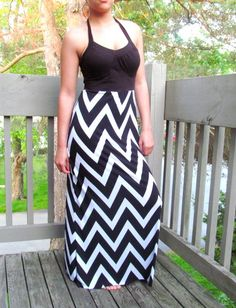 Maxi Black Halter top summer dress timeless black and white chevron