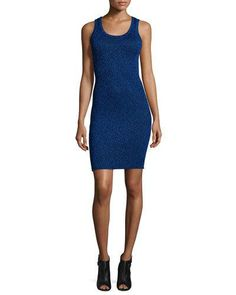 OPENING CEREMONY DISCO RIBBED METALLIC TANK DRESS, UV BLUE. #openingceremony #cloth #