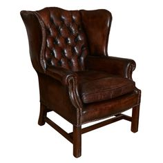 19th Century English Leather Wing Back Chair - Original Leather