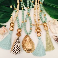 Oyster Shell Mirrors + Decor Boho Chic Jewelry, Tassel Necklaces, Oyster Shell Necklaces