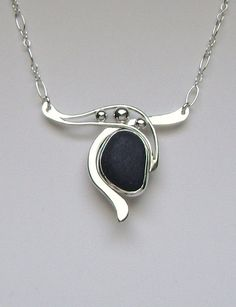 Sea Glass Jewelry Sterling Rare Black English Sea by SignetureLine, $175.00