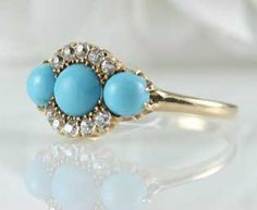 Antique Persian Turquoise and Diamond ring