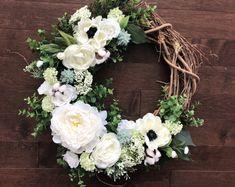 Spring Wreath for Front Door Summer Porch Decor, Summer Door Wreaths, Holiday Wreaths, Wreaths For Front Door, Spring Wreaths, Succulent Wreath, Year Round Wreath, Front Door Decor, How To Make Wreaths