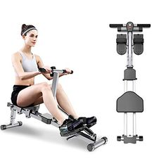 Xwenf Home Fitness Rowing Machine,Silent Foldable Double Track Rowing Machine Aerobic Exercise Full Body Work Out,Suitable for Male And Female Home Office Training Rowing Machine 1. Fun boating, a new fitness experienc... Home Rowing Machine, Rowing Machines, Workout Machines, Gluteal Muscles, Thigh Muscles, Abdominal Muscles, Office Training, Rowing Workout, At Home Gym