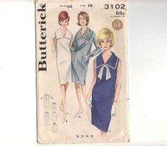 Vintage Sailor Collar 60's Nautical Shift Dress or Sailor Overblouse & Wiggle Skirt Butterick 3102 Sewing Pattern Size 16 Bust 36 UNCUT