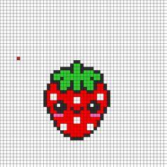 Kawaii Strawbeey Perler Bead Pattern | Bead Sprites | Food Fuse Bead Patterns