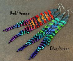 Mix and Match Earrings,Grizzly Rooster Feather~Extra Long Rainbow Earrings~Tie Dye Bead~Hippie Earrings~Mix and Match~Gay Pride Beaded Earrings Patterns, Beaded Tassel Earrings, Seed Bead Earrings, Boho Earrings, Beading Patterns, Beaded Jewelry, Seed Beads, Jewellery, Beading Techniques