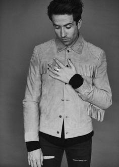Nick Grimshaw wears beige fringe jacket and jeans from Topman