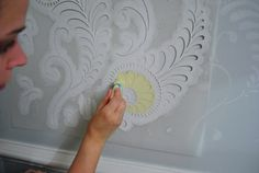 ... stenciling the walls, but not with ducks or hearts like in the 80s....   Dude, Stencils Are No Joke | Young House Love