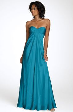 hmm, Laundry By Shelli Segal Strapless Charmeuse Gown in Blue (cerulean)