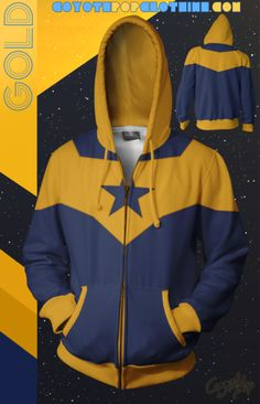DC Comics Booster Gold hoodie Nike Jacket, Rain Jacket, Zip Hoodie, Dc Comics, Windbreaker, Superhero, Hoodies, Nerdy, Gold