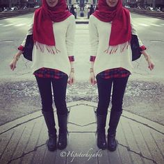 Why have I never thought about flannel under a low-high sweater? I love it. #hijab
