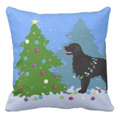 Black Flat-Coated Retriever - Christmas Forest Pillow