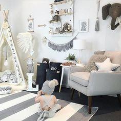 Dreamy, gender neutral, monochrome playroom via @_honeypunch