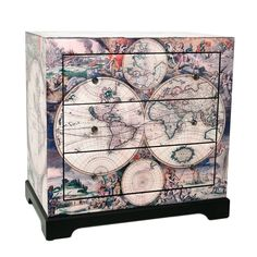 Lounge Lizard World Map Chest of Drawers