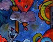 """Affiche signée de la peinture """" Accroche coeur """" : Photos par dinah-hascoet"""