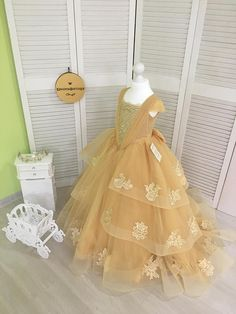 Gold Lace Tulle Belle Dress Birthday Wedding party