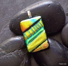 Fused dichroic glass pendant, fire orange, yellow, green, handmade