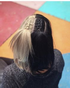 33 Trendy Hairstyles For Medium Length Hair You Will Love Half And Half Hair Color hair Hairstyles Length Love Medium Trendy Two Color Hair, Hair Dye Colors, Hair Color For Black Hair, Cool Hair Color, Split Dyed Hair, Half Dyed Hair, Half Colored Hair, Half And Half Hair, Hair Streaks